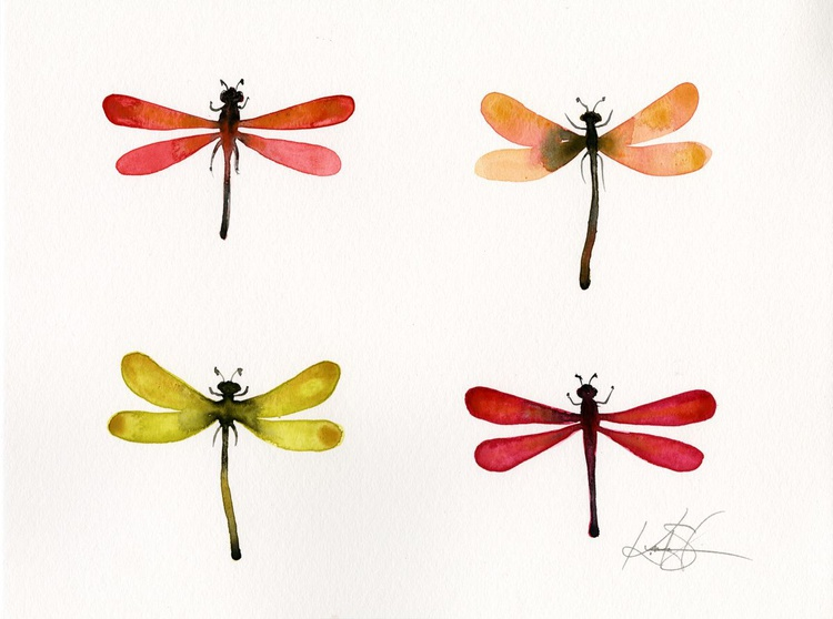 Four Dragonflies - Abstract Dragonfly Watercolor Painting - Image 0