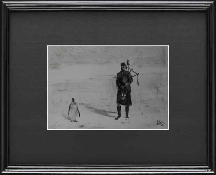 1904. Member of the Scottish Antarctic Expedition playing bagpipes in folk to a penguin. -