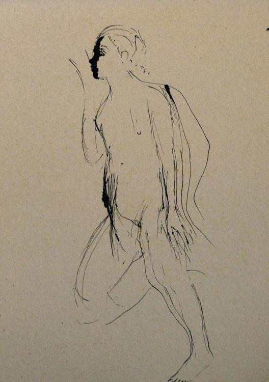 Nude + Portrait, ink on cardboard 30x42 cm - Image 0