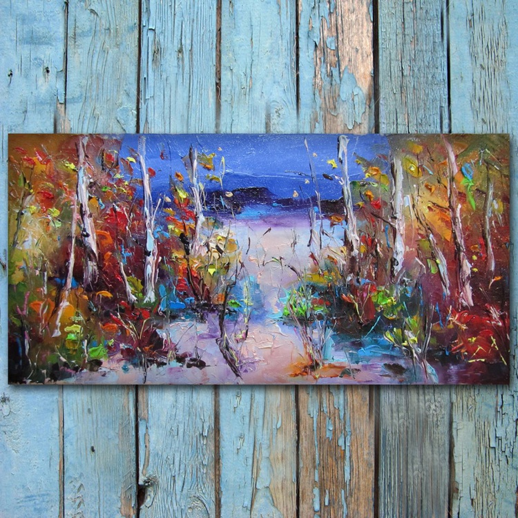 silence, Landscape oil painting, free shipping - Image 0