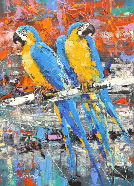 Guacamayas - Original Palette Knife oil Painting on Canvas by Dmitry Spiros. Size: 52cm x 73cm