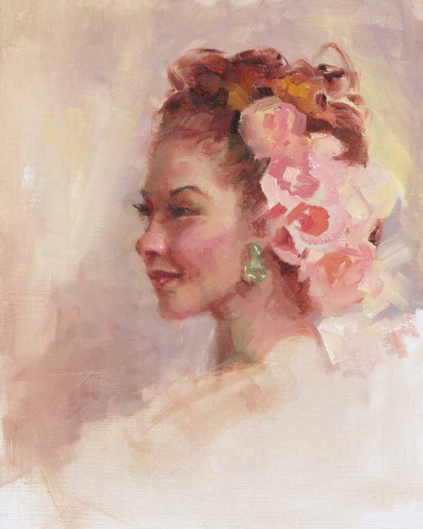 Flowers in her Hair - old world portrait of a young woman - Image 0
