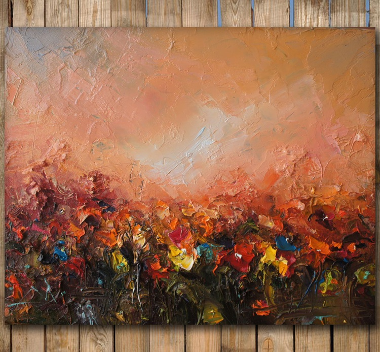 Dance on the field 2, colorful field Oil Painting, free shipping - Image 0