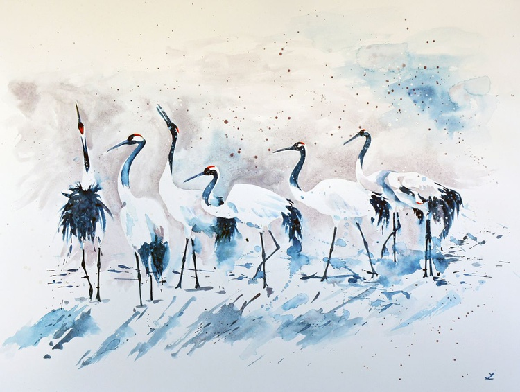 Japanese Cranes in the Snow - Image 0