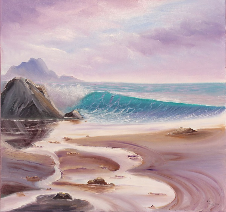 Go Along with the Flow, Seascape Oil Painting on Canvas, Coastal Ocean Art, Lavender Ocean Waves Painting - Image 0