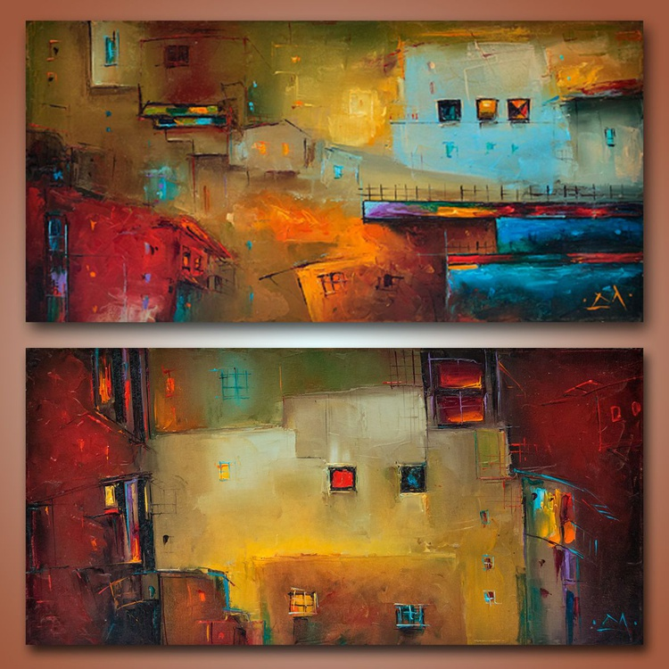 Urban Legends, Abstract  City painting, free shipping - Image 0
