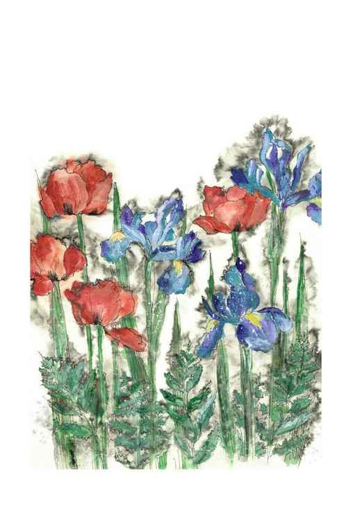 Irises and Poppies -