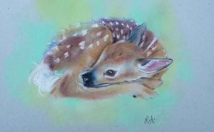 A Safe Place - Original Fawn baby deer pastel painting on board -