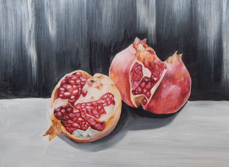 """Pomegranate"" original oil paintig still life home decor wall art ready to hang - Image 0"