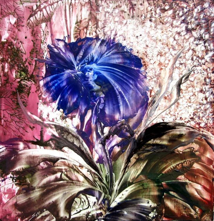 """Encaustic Floral, """"Lady in Blue"""" - Image 0"""