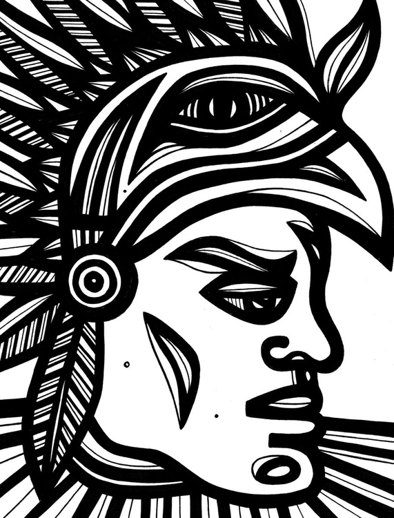 Mayan Warrior Original Drawing - Image 0