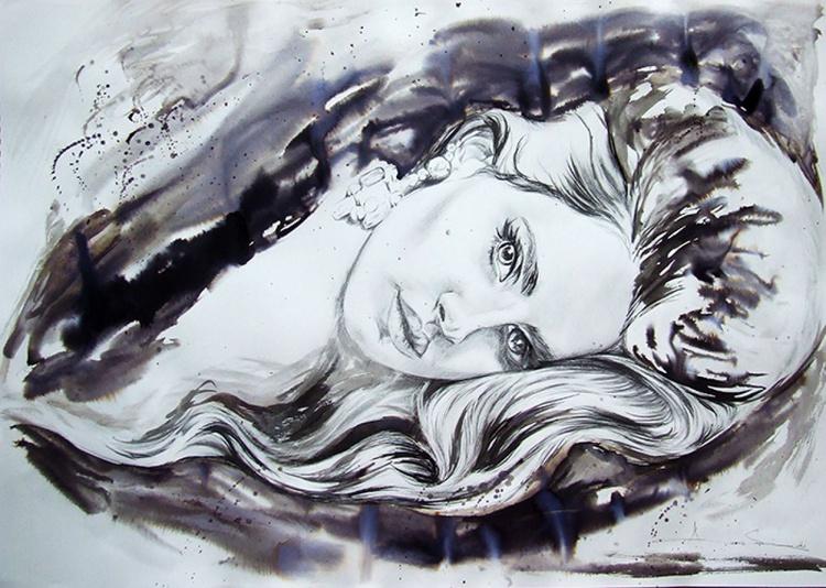 Original Watercolour of Lana del Rey - Image 0