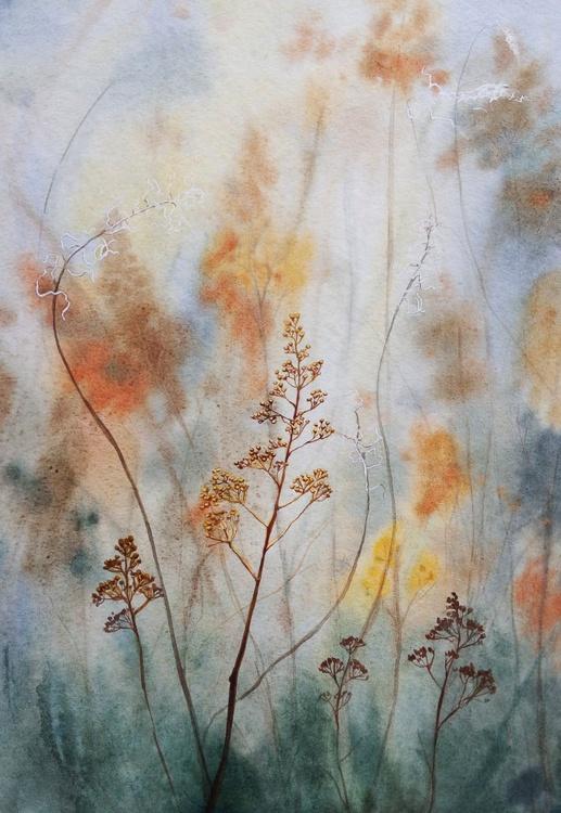 Dry Grass -  Autumn Painting, Autumn Decor,  Landscape, Indian summer, Autumn colours, original watercolour - Image 0