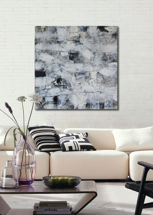Structures XII - large abstract painting black, white and grey on canvas, free shipping - Image 0