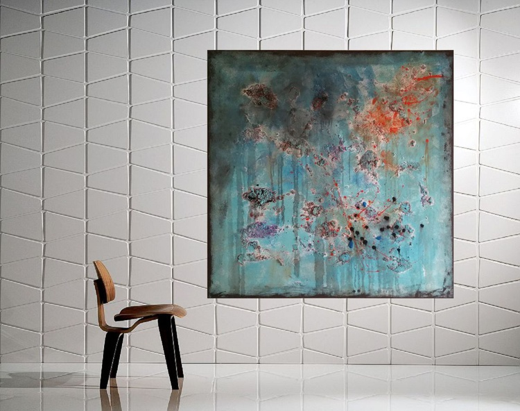 "31,5 by 31,5"" , square abstract painting, Feel Right 2 - Image 0"