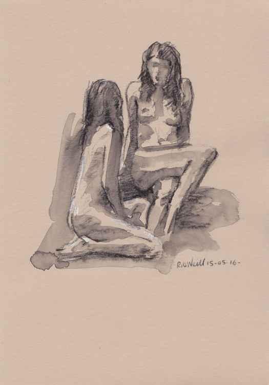 Seated female nudes