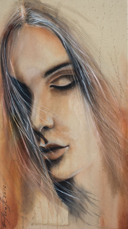 """Dispensable"",original watercolor painting on canvas 50x90x2cm - Image 0"