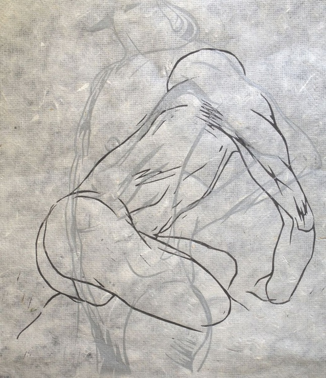 Figures Study, Life Drawing Print in Silver and Black Lino - Image 0