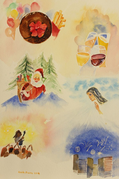 December, Christmas poster, Conceptual art in watercolor, gift, wall decor - Image 0