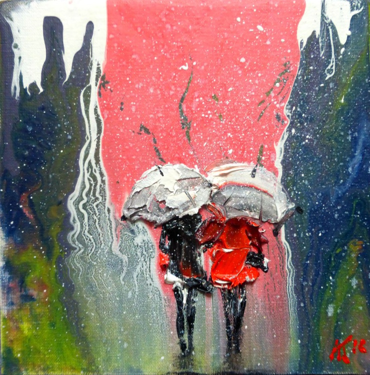 walk under the rain, oil painting 20x20 cm - Image 0
