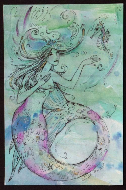 Mermaid and Seahorse watercolor mermaid painting - Image 0