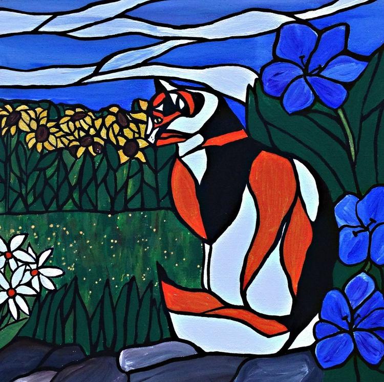Calico in the garden sun - Image 0