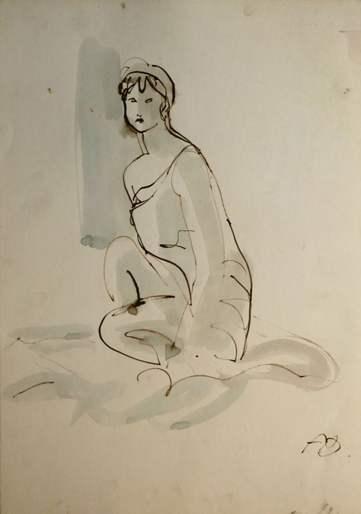 Catherine, ink on paper 65x45 cm - Image 0