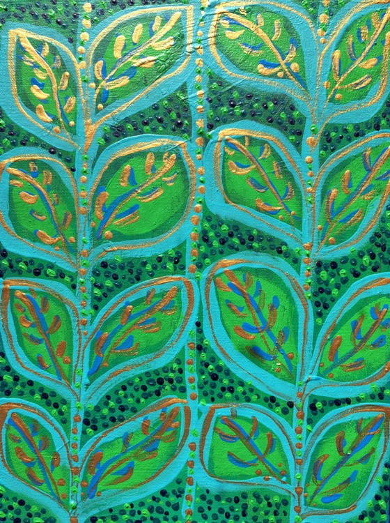 Leaves in Green & Turquoise - Image 0