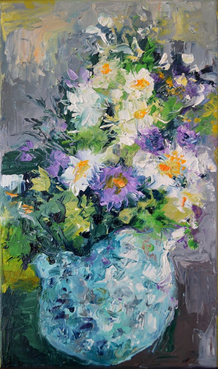 White Flowers, Modern Painting, Ready to Hang Floral Oil Painting - Image 0