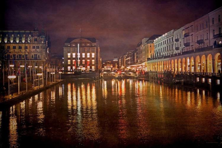 Hamburg at Night - Canvas 75 x 50 cm - Image 0