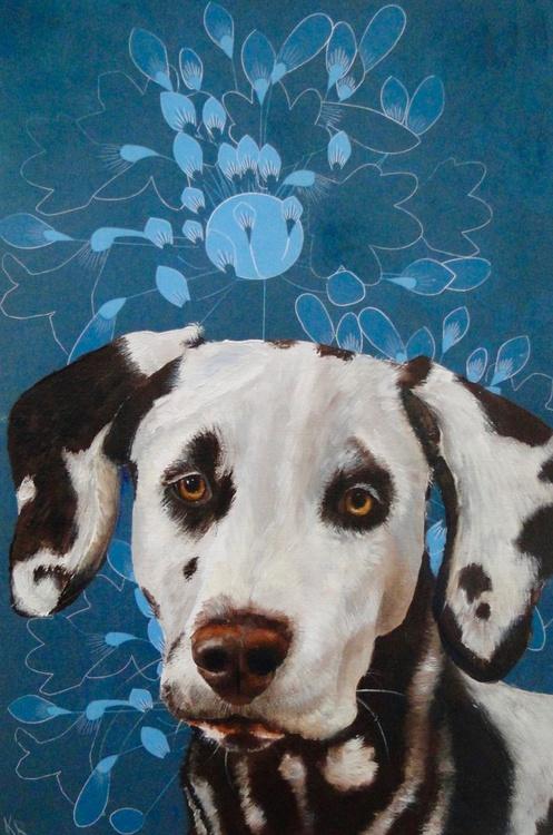 Dog on Blue Wallpaper - Image 0