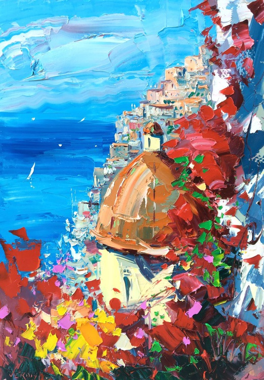Positano Painting Amalfi Coast Italy Painting Abstract Art Flowers Painting Seascape Painting Impressionist Art Anniversary Gifts Ideas For Her - Image 0