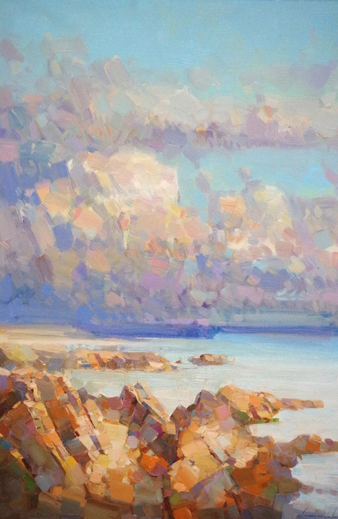 Seascape, South Bay, Original oil painting, Handmade artwork, One of a kind Signed with Certificate of Authenticity - Image 0