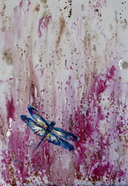 Dragonfly with Silver leaf - Image 0