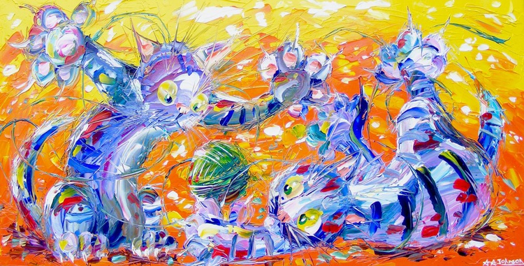 "Children's Art, cats, - ""Highly Strung"" - Image 0"