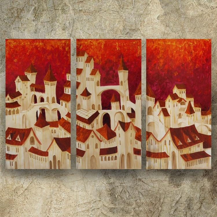 Old italian town Dolche Acqua cityscape landscape surrealistic original art orange Large paintings 100x150x2 cm stretched canvas acrylic art palette knife wall art by artist Ksavera - Image 0