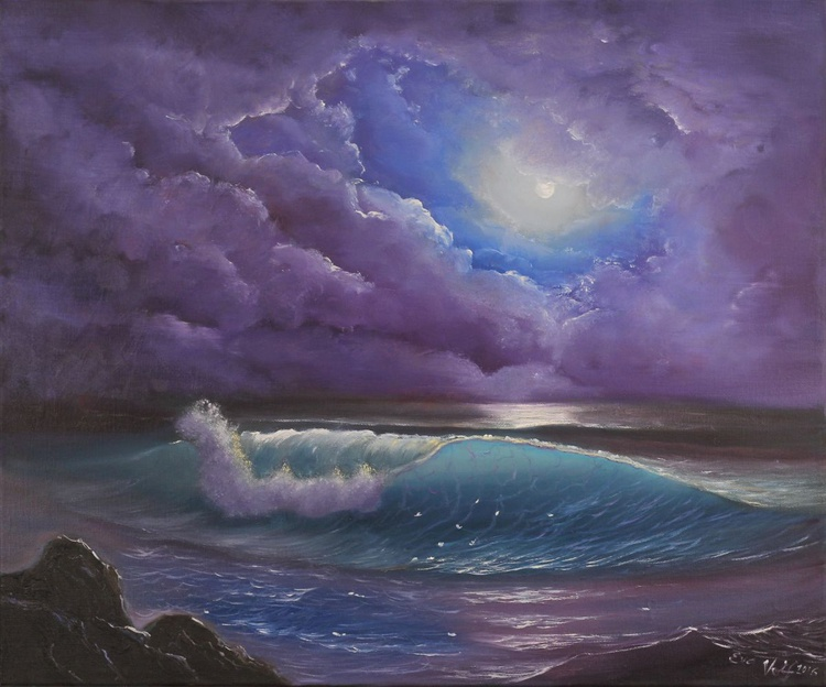 The Color of the Night, Ocean Wave Painting, Seascape Oil Painting on Canvas, Night Ocean Art, Realistic Seascape - Image 0