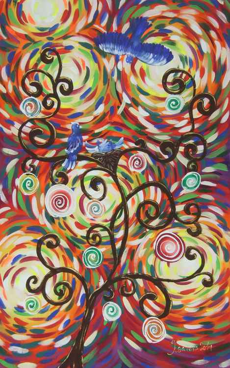 Expressionism Tree of life Large abstract painting 100x160 cm unstretched canvas art by artist Ksavera