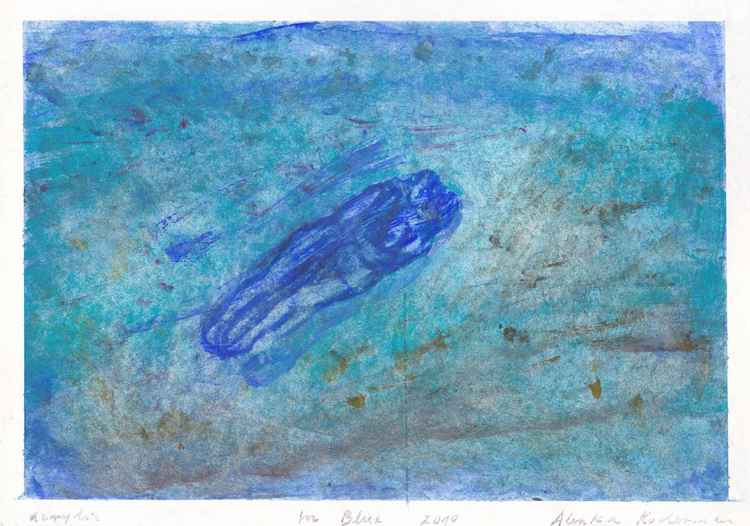 In Blue 2010, acrylic on paper, 17.6 x 25 cm
