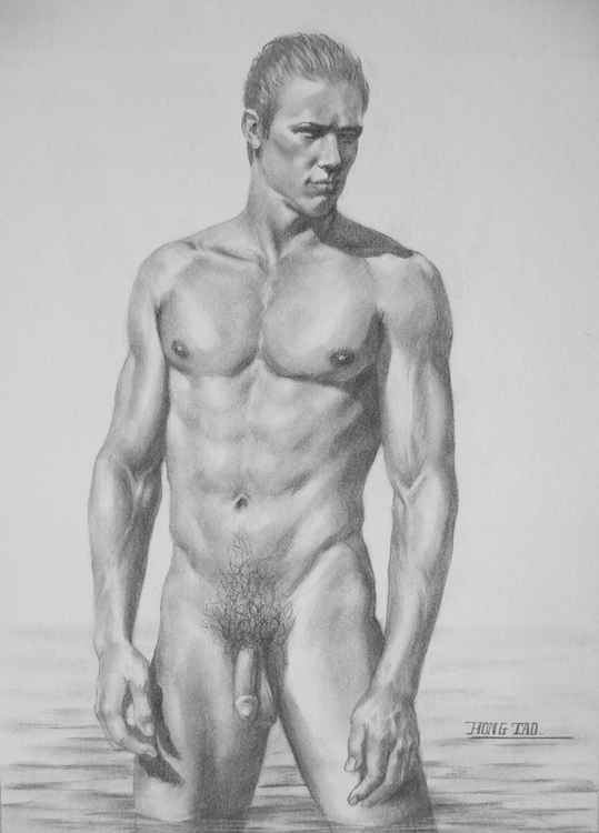 original art drawing charcoal male nude man on paper #16-4-22-01 -