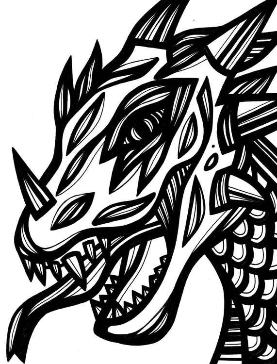 Fierce Dragon Original Drawing -