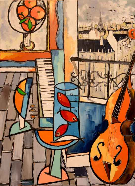 The three goldfish of Matisse with cello ETC