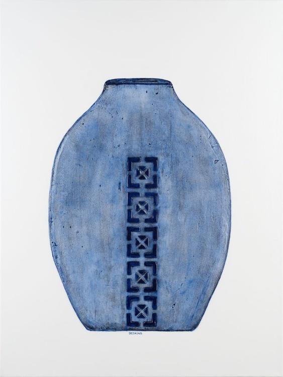 Serenity Blue Raku Pottery Triptych - SOLD - Image 0