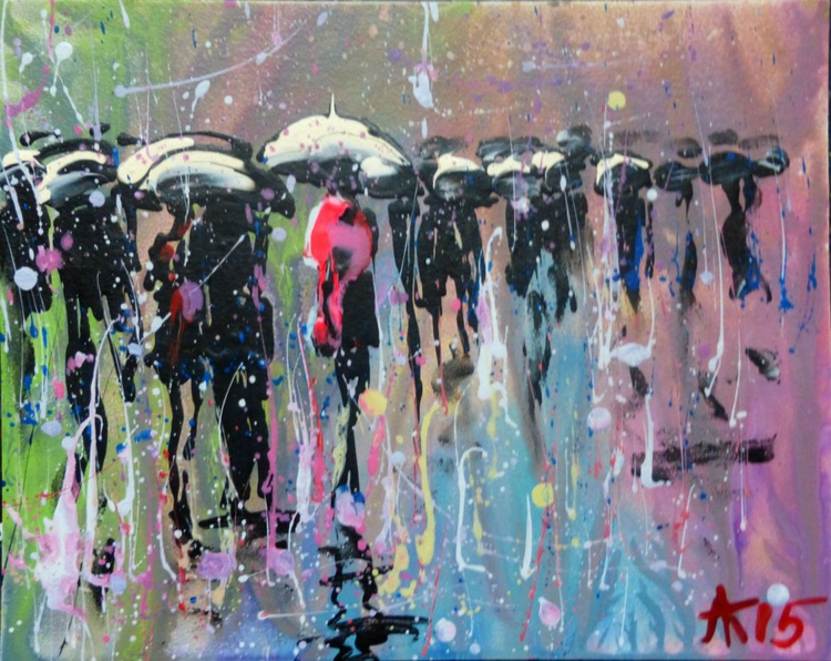 Evening rain, Original acrylic painting  25x20 cm - Image 0
