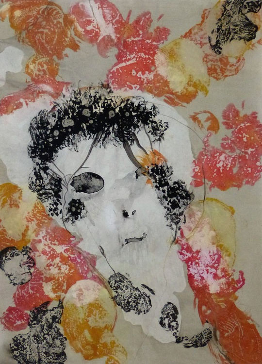 A Face amongst the Flowers, 42x58 cm - Image 0