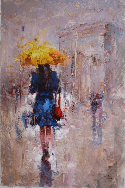 """"""" The girl with the yellow umbrella """" FREE SHIPPING - Image 0"""