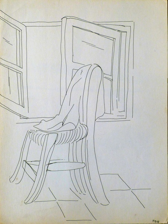 Still Life: Chair by the Open Window, 24x32 cm - Image 0