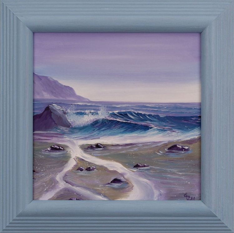 A Quiet Morning/ Ocean Waves 34, framed coastal oil painting - Image 0