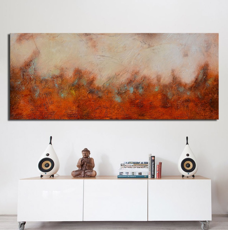 "The Mystery of Sargasso Sea (72""x30"") - abstract painting ready to hang - Image 0"