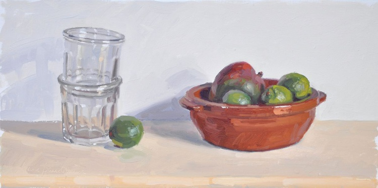Limes and mango in an earthenware dish, jam jars - Image 0